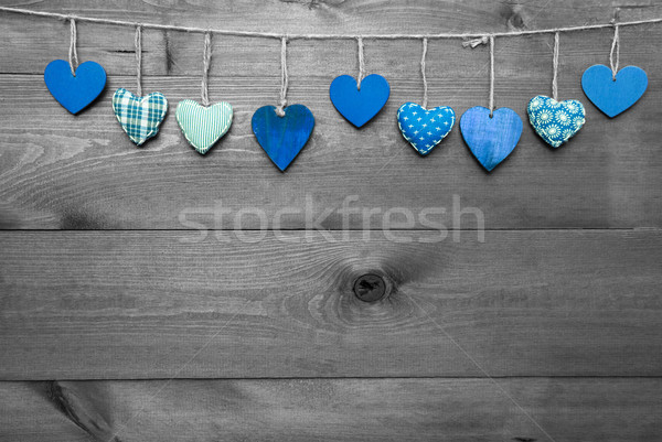 Loving Greeting Card With Turquoise Hearts, Copy Space Stock photo © Nelosa