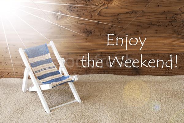 Zomer zonnige wenskaart tekst genieten weekend Stockfoto © Nelosa