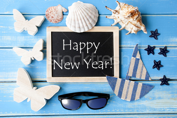 Blackboard With Maritime Decoration And Text Happy New Year Stock photo © Nelosa