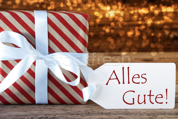 Atmospheric Christmas Gift With Label, Alles Gute Means Best Wis Stock photo © Nelosa