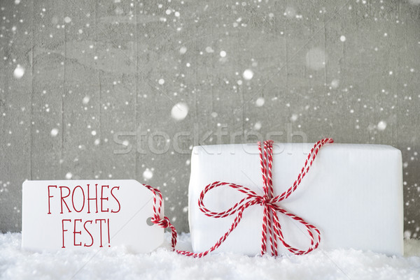 Gift, Cement Background With Snowflakes, Frohes Fest Means Merry Christmas Stock photo © Nelosa