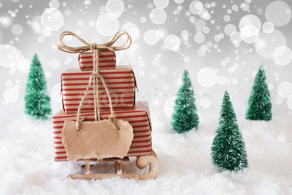 Christmas Sled On Snow With White Background, Copy Space Stock photo © Nelosa
