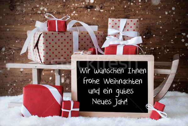 Sleigh, Snowflakes, Weihnachten Neues Jahr Means Christmas New Y Stock photo © Nelosa