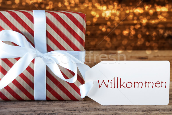 Atmospheric Christmas Gift With Label, Willkommen Means Welcome Stock photo © Nelosa