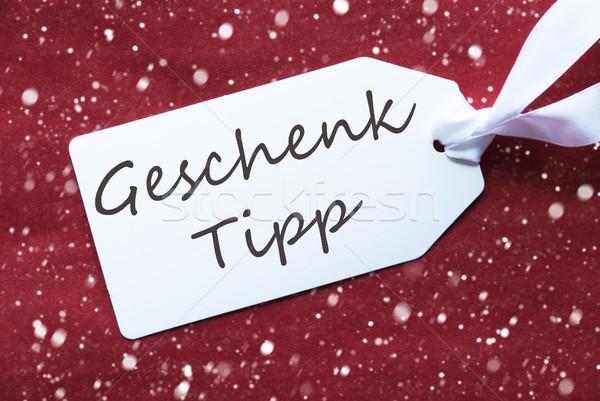 Label Rood sneeuwvlokken geschenk tip tekst Stockfoto © Nelosa
