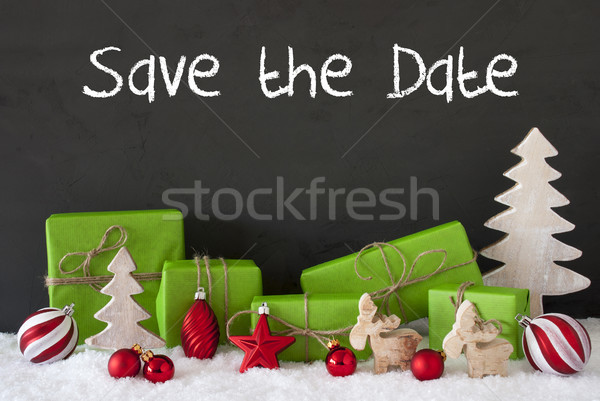 Christmas Decoration, Cement, Snow, English Text Save The Date Stock photo © Nelosa