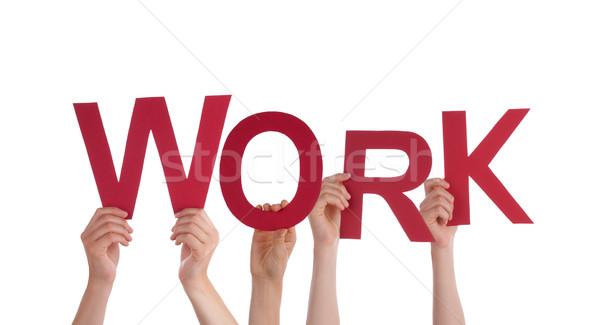 Mensen werk veel woord geïsoleerd Stockfoto © Nelosa