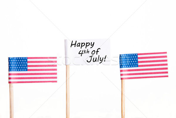White Banner with Happy 4th of July Stock photo © Nelosa