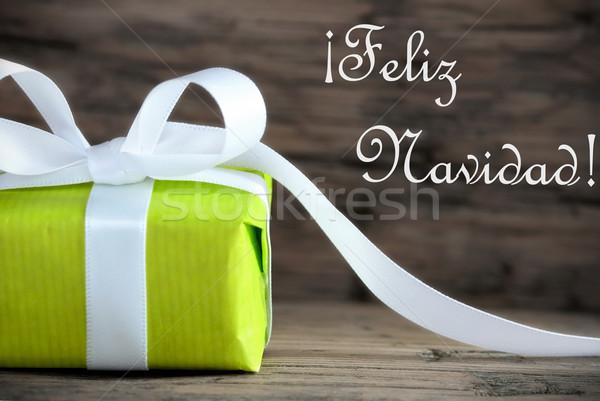 Green Gift with Feliz Navidad Stock photo © Nelosa
