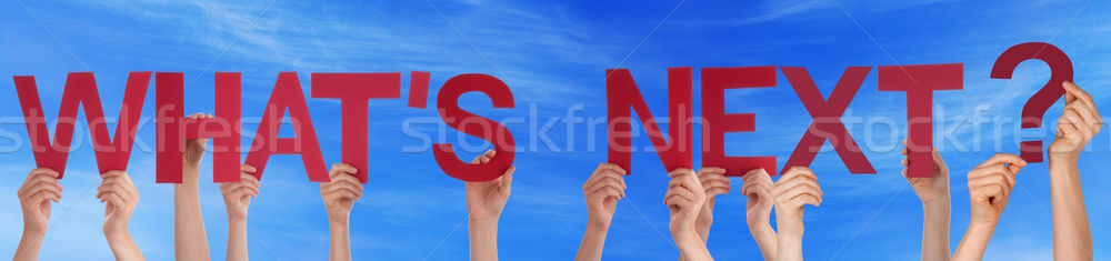 People Hands Holding Red Straight Word Whats Next Blue Sky Stock photo © Nelosa