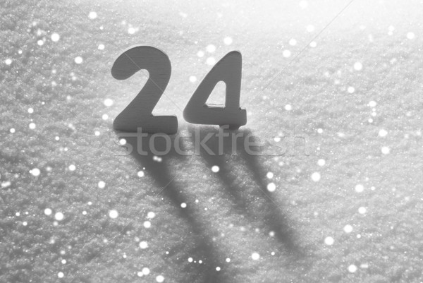 Branco número 24 neve flocos de neve cartas Foto stock © Nelosa