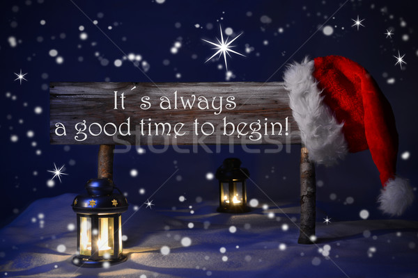 Christmas Sign Candlelight Santa Hat Good Time Begin Stock photo © Nelosa