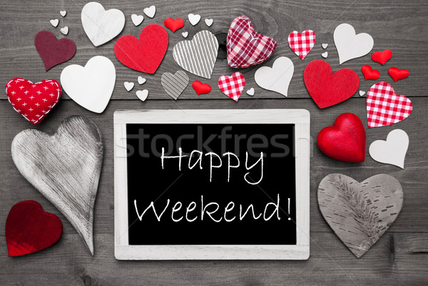 Black And White Chalkbord, Red Hearts, Happy Weekend Stock photo © Nelosa