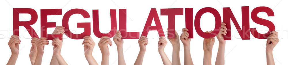 Many People Hands Holding Red Straight Word Regulations Stock photo © Nelosa