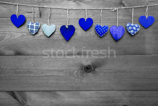 Loving Greeting Card With Blue Hearts, Copy Space Stock photo © Nelosa