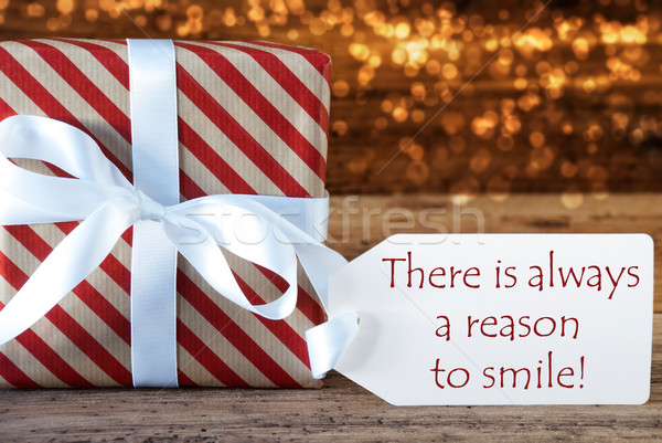 Atmospheric Christmas Gift With Label, Always Reason To Smile Stock photo © Nelosa