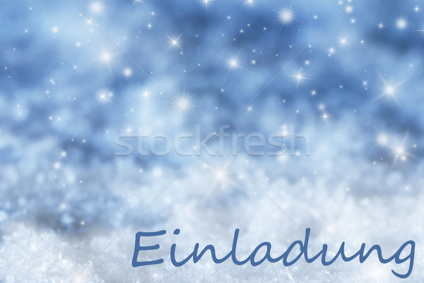 Blue Sparkling Christmas Background, Snow, Einladung Means Invitation Stock photo © Nelosa