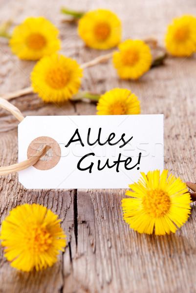 żółte kwiaty tag słowa gratulacje drewna charakter Zdjęcia stock © Nelosa