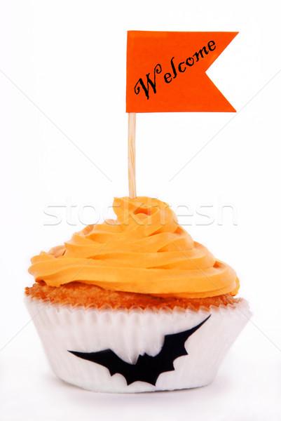 Hátborzongató üdvözlet narancs minitorta izolált torta Stock fotó © Nelosa