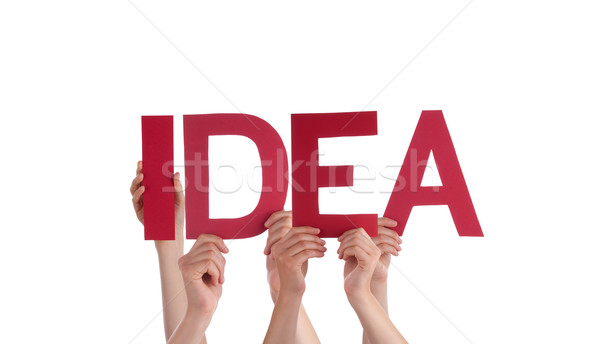 Stock photo: Many People Hands Holding Red Straight Word Idea