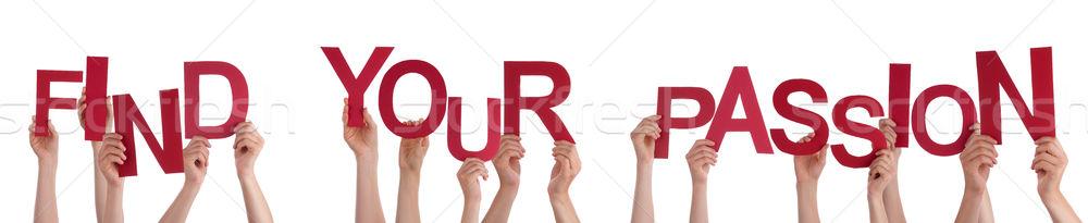 люди рук красный слово находить Сток-фото © Nelosa