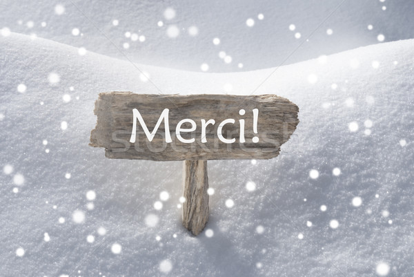 Christmas Sign Snow Snowflake Merci Mean Thank You Stock photo © Nelosa
