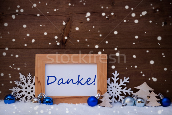 Blue Christmas Decoration, Snow, Danke Mean Thanks, Snowflakes Stock photo © Nelosa