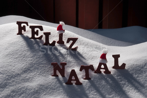 Card With Santa Hat, Snow, Feliz Natale Mean Merry Christmas Stock photo © Nelosa