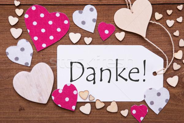 Címke rózsaszín szív köszönjük textil szívek Stock fotó © Nelosa