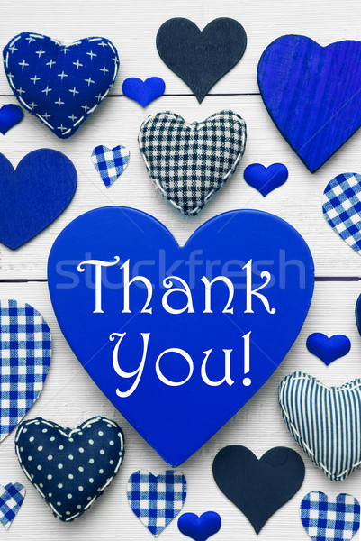 Vertical Card With Blue Heart Texture, Thank You Stock photo © Nelosa