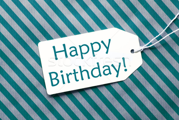 Label On Turquoise Wrapping Paper, Text Happy Birthday Stock photo © Nelosa