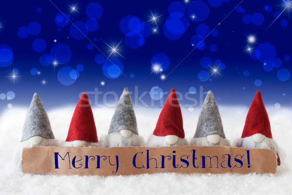 Stock photo: Gnomes, Blue Background, Bokeh, Stars, Text Merry Christmas
