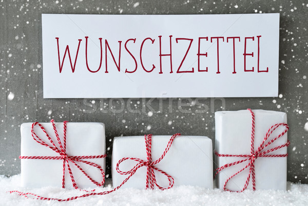Stock photo: White Gift With Snowflakes, Wunschzettel Means Wish List