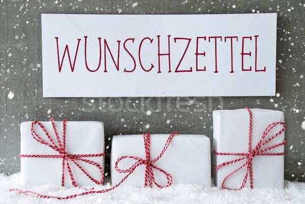 White Gift With Snowflakes, Wunschzettel Means Wish List Stock photo © Nelosa