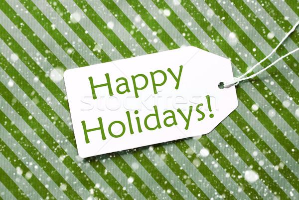 Label groene inpakpapier sneeuwvlokken tekst gelukkig Stockfoto © Nelosa