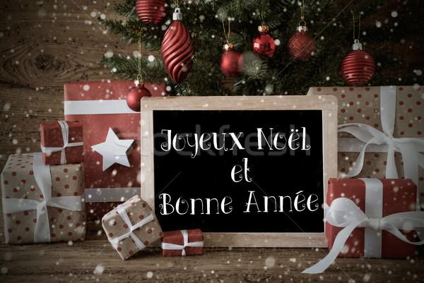 Nostalgic Christmas Tree, Bonne Annee Means New Year, Snowflakes Stock photo © Nelosa