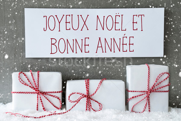 White Gift With Snowflakes, Bonne Annee Means New Year Stock photo © Nelosa