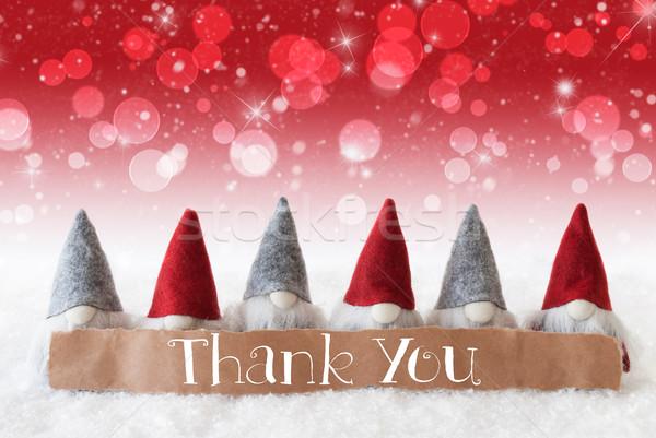 Gnomes, Red Background, Bokeh, Stars, Text Thank You Stock photo © Nelosa