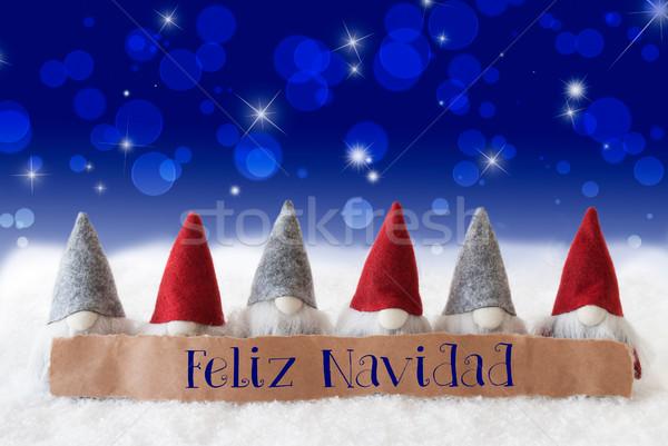 Gnomes, Blue Bokeh, Stars, Feliz Navidad Means Merry Christmas Stock photo © Nelosa