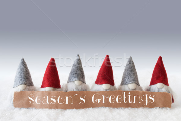 Gnomes, Green Background, Text Seasons Greetings Stock photo © Nelosa