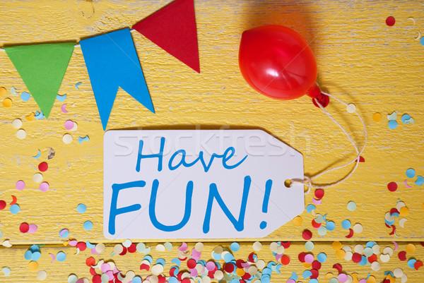 Fête étiquette confettis ballon texte amusement Photo stock © Nelosa