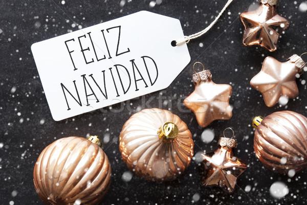 Bronze Balls, Snowflakes, Feliz Navidad Means Merry Christmas Stock photo © Nelosa