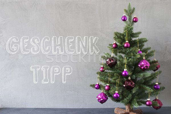 Christmas Tree, Cement Wall, Geschenk Tipp Means Gift Tip Stock photo © Nelosa