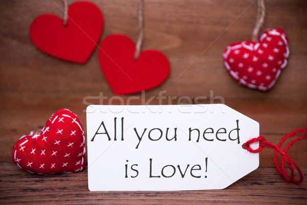 Read Hearts, Label, Quote All You Need Is Love Stock photo © Nelosa