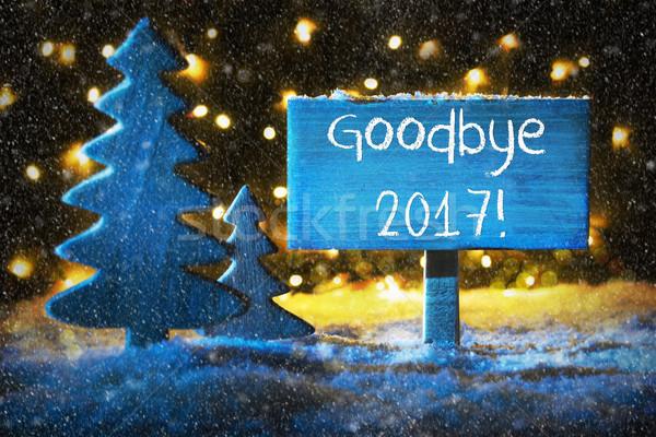 Blue Christmas Tree, Text Goodbye 2017, Snowflakes Stock photo © Nelosa