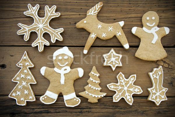 Stok fotoğraf: Ahşap · zencefilli · çörek · kurabiye · beyaz · dekorasyon · Noel