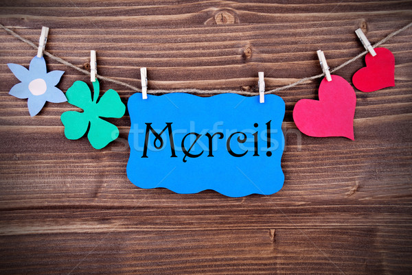 Blue Merci Banner with different Symblos on a Line Stock photo © Nelosa