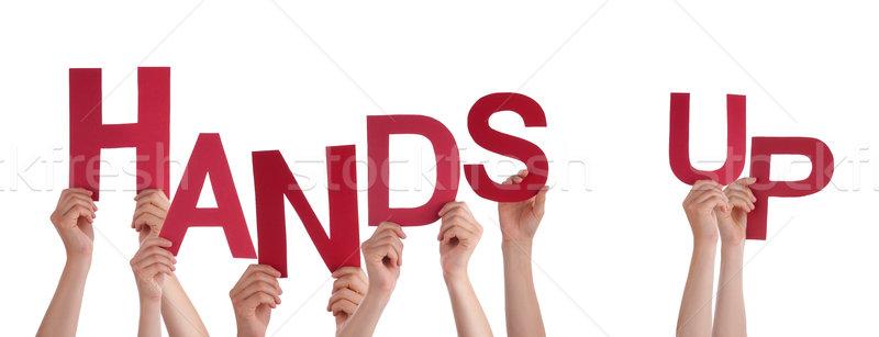Ludzi ręce czerwony słowo Zdjęcia stock © Nelosa