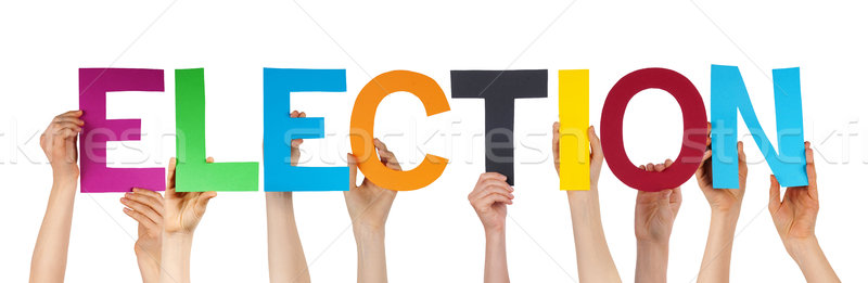 Hands Holding Colorful Straight Word Election Stock photo © Nelosa