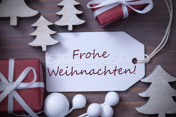 Label Gift Tree Frohe Weihnachten Means Merry Christmas Stock photo © Nelosa